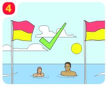 4 常に友達と一緒に泳ぎましょう。相手を確認し合い、必要な時は助けを呼びましょう